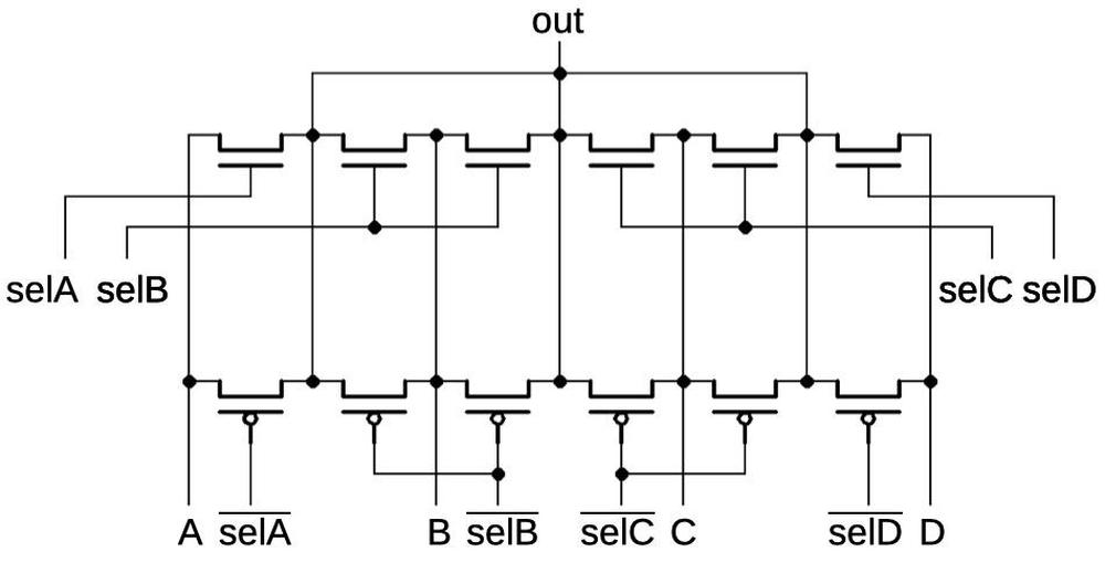 Schematic of the multiplexer, matching the physical layout on the chip.