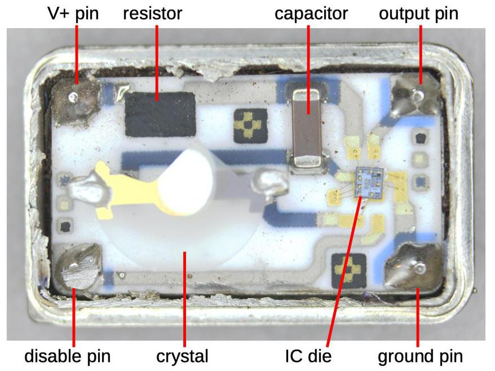 Inside the oscillator package, showing the components mounted on the ceramic substrate.