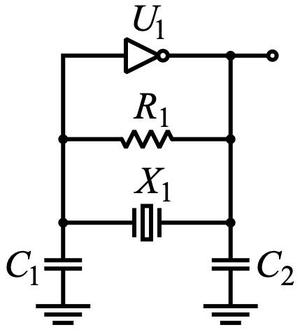 The Pierce oscillator circuit commonly used as a computer clock. Diagram by Omegatron, CC BY-SA 3.0.