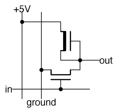 Schematic of an NMOS inverter, corresponding to the masks above.