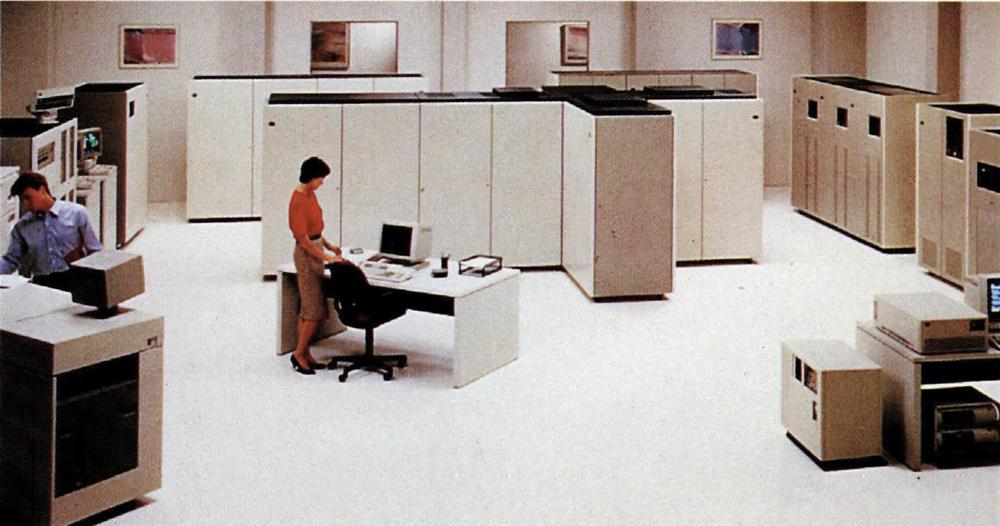 A large ES/9000 installation with the water-cooled 9021 processor. From IBM ESCON brochure.