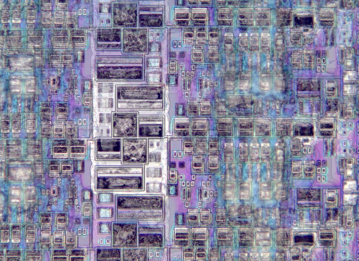 Die photo showing I/O cells. This die photo was formed from a stack of images.