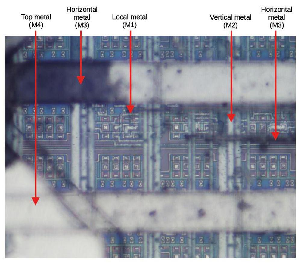 The chip has four layers of metal. The silicon circuitry is visible underneath, somewhat obscured by the multiple layers of insulating silicon dioxide and silicon nitride on top.