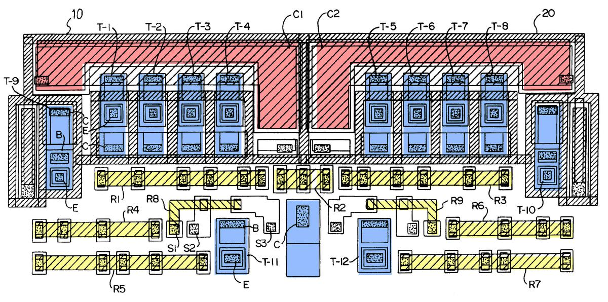 Diagram of the cell layout used by the chip. From patent EP0493989A1.