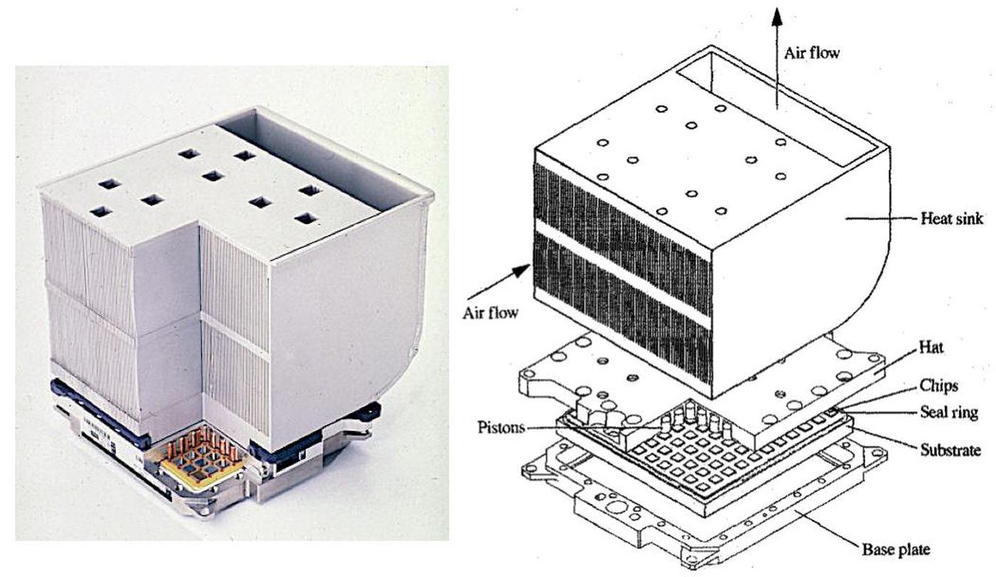 Diagram of the TCM with the heat sink on top. Photo from Dr. Chu / IBM, diagram from TCM paper.