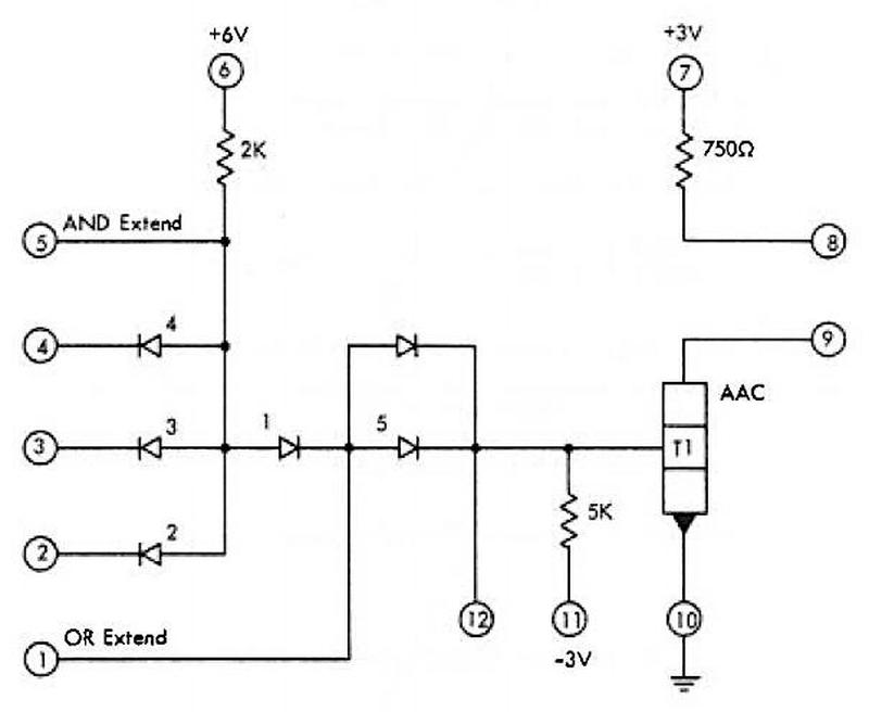 Schematic of one of the SLT modules on the board (361453 AND-OR-INVERT (AOI) gate) from the IBM manual.