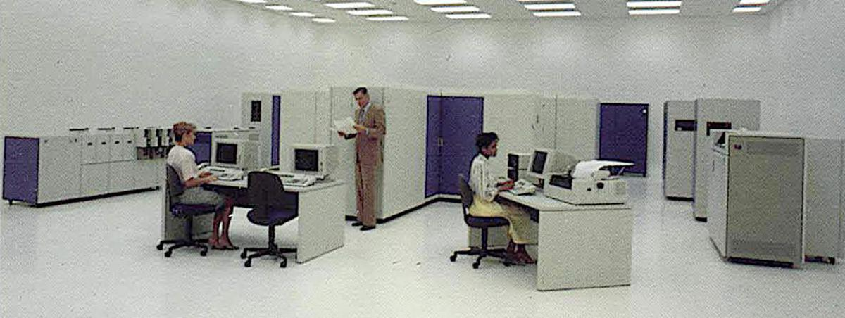An IBM 3090 data center. Photo from the IBM 3090 brochure.