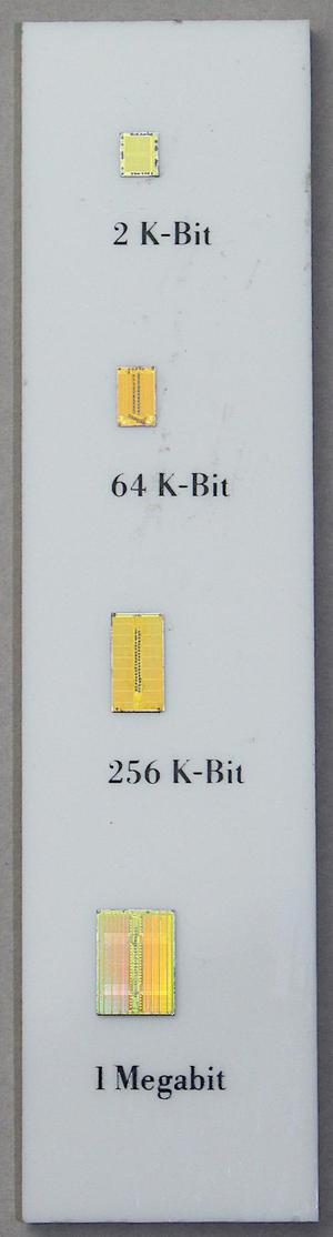 The box includes a display with four memory dies: 2 K-Bit, 64 K-Bit, 256 K-Bit, 1 Megabit.