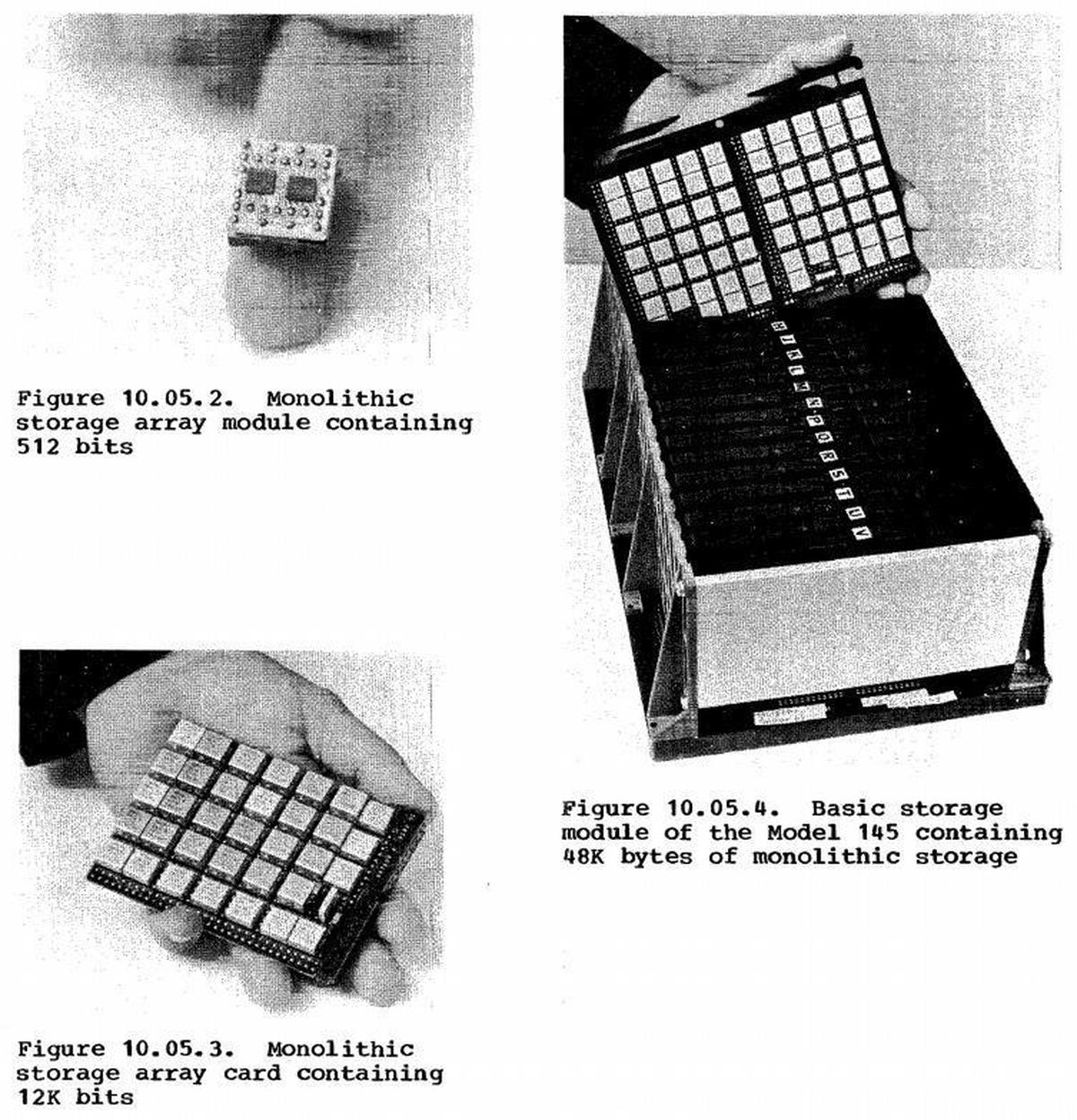 Photos showing the 512-bit memory module, the 12-kilobit memory card, and the 48-kilobyte basic storage module. Photos from IBM 370 guide.