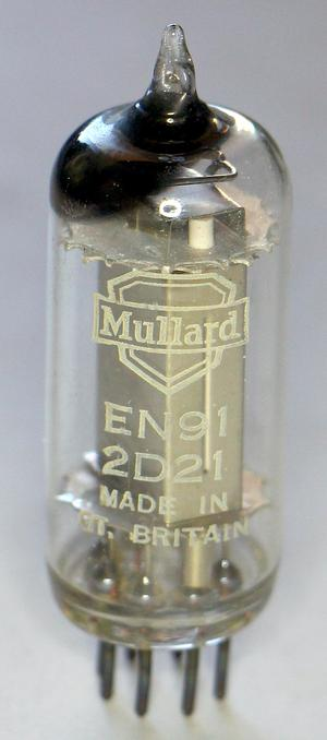 A thyratron tube, type 2D21. This tube is from the pluggable module in the box.