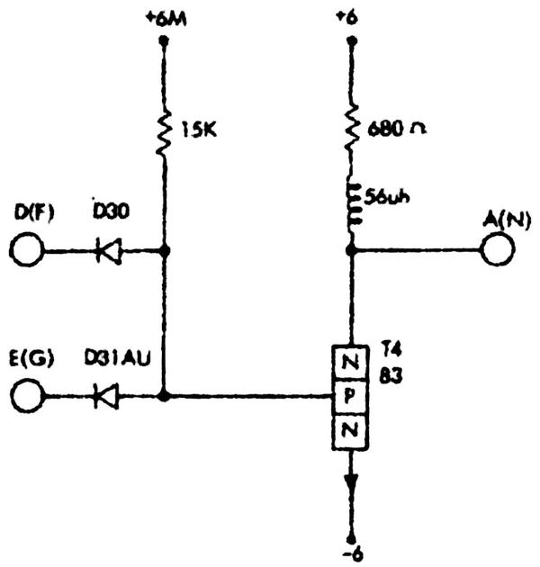 Schematic of a NAND logic circuit built from a type 83 transistor. From Standard Modular System Component Circuits, p43.