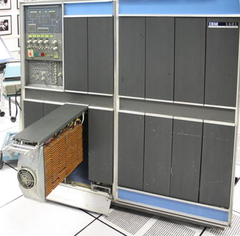 The IBM 1401 computer, showing some of the cards inside. (Click any image for a larger version.)
