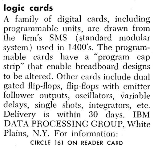 A product announcement for SMS cards from Datamation, 1966.