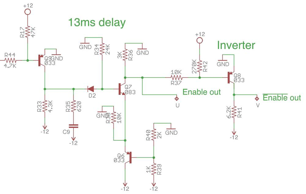 Reverse-engineered schematic showing the 13ms delay circuit on the modem board.