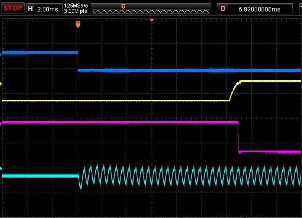 Oscilloscope trace of the delay circuit.