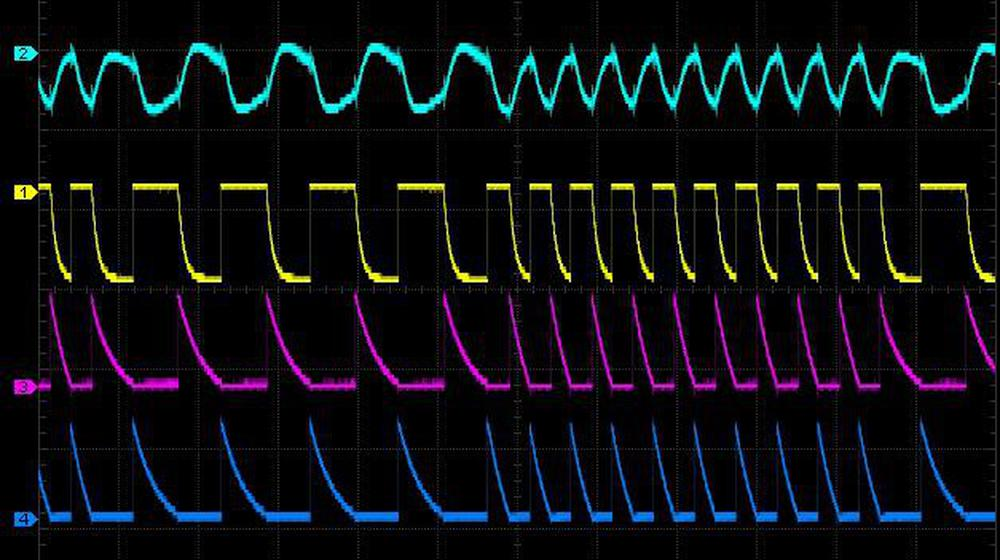 Oscilloscope traces of the oscillator, showing the alternating decay cycles.
