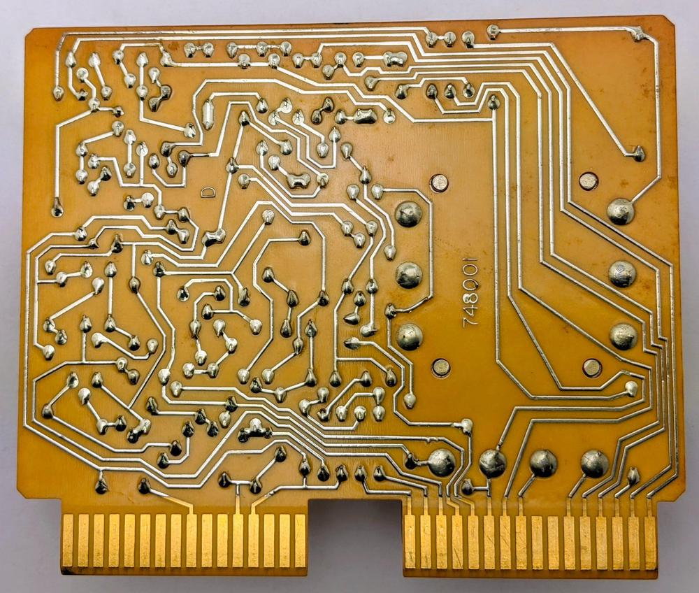 The underside of the printed circuit board for the modem card.