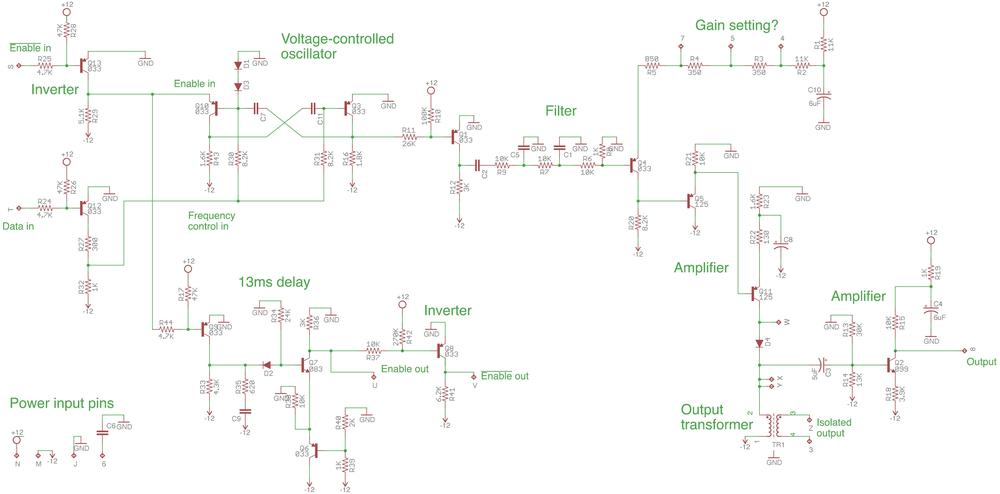 Reverse-engineered schematic of the IBM modem board. (Click this image, or any other, for a larger version.)