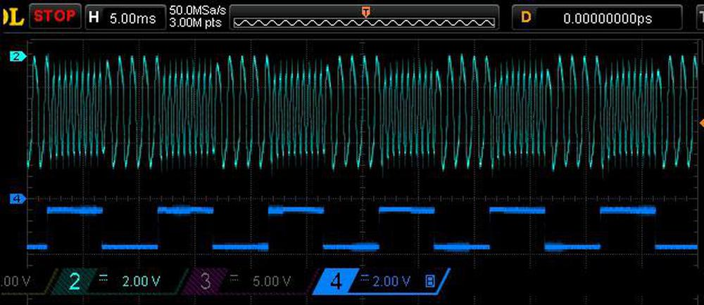 Oscilloscope trace showing how the frequency of the output signal varies with the input data.