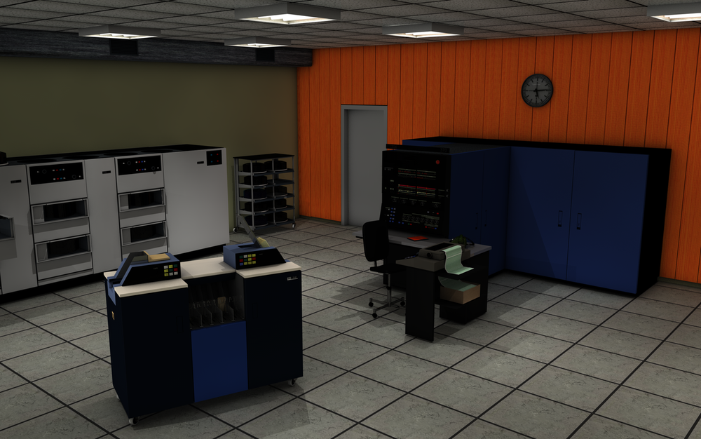 Rendering of a System/370 Model 145. The computer is the large blue cabinet along the wall. The white unit at the back is disk storage, while a card reader is in the foreground. Image by Oliver.obi, CC BY-SA 3.0.