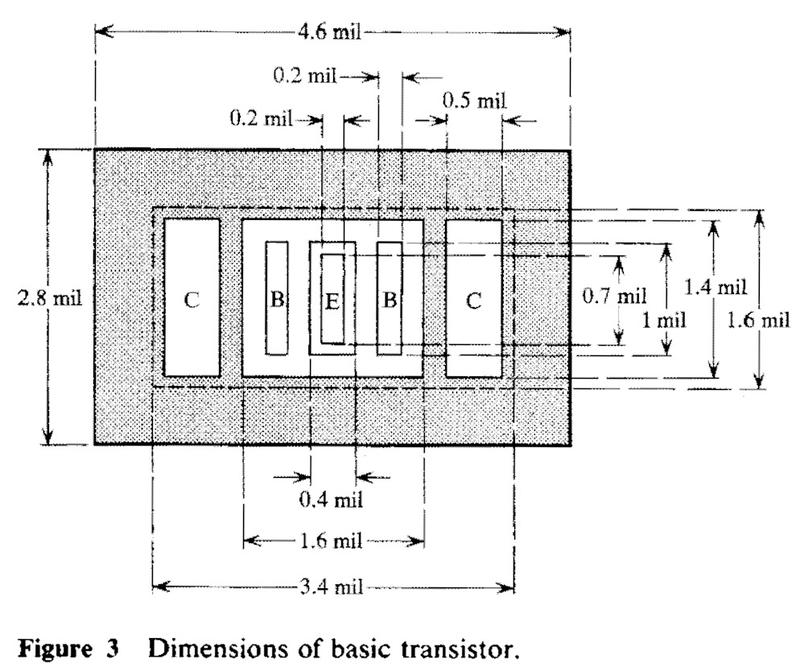 The transistors in the MST chips have a single base and collector but has two base and collector connections to reduce current density. Image from Design of Logic Circuit Technology for IBM System/370 Models 145 and 155.