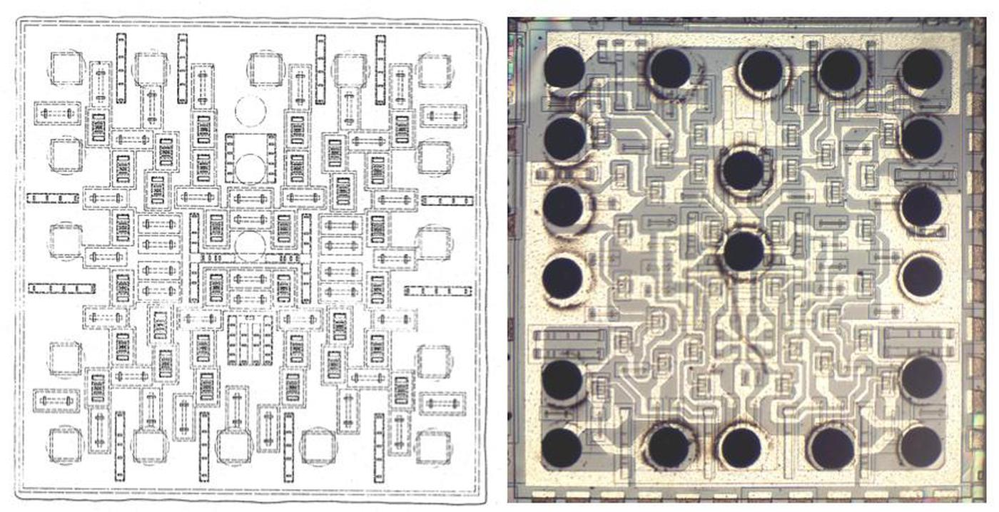 The die structure from patent 3539876 is almost identical to the chip.