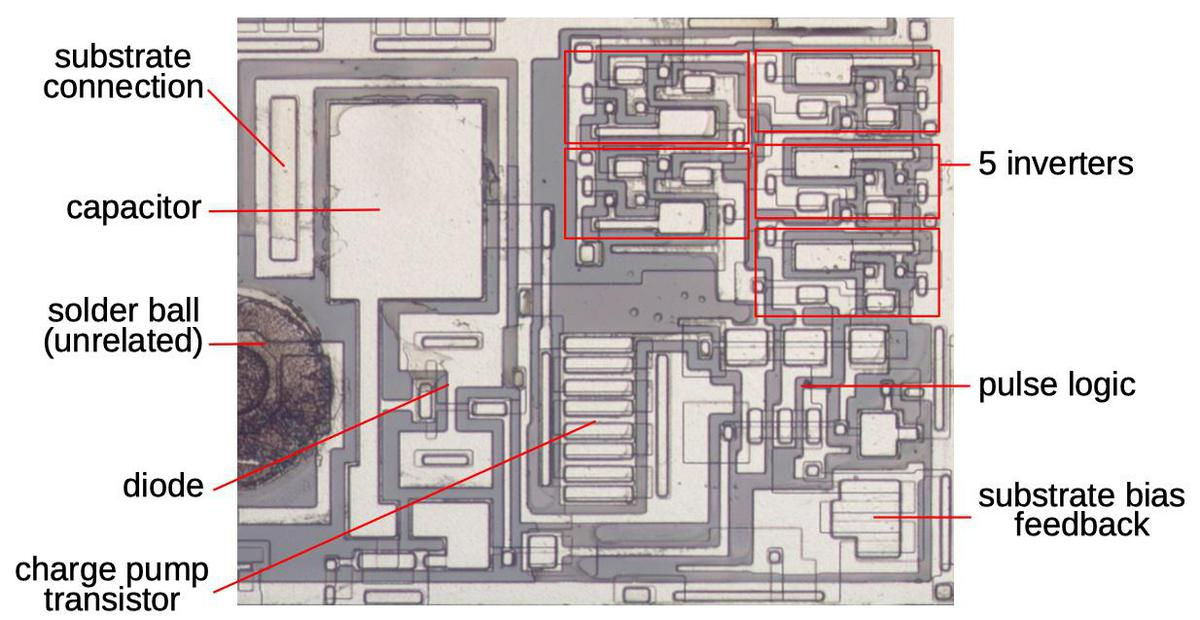 A closeup of the substrate bias circuitry. It is in the lower-right corner of the die.