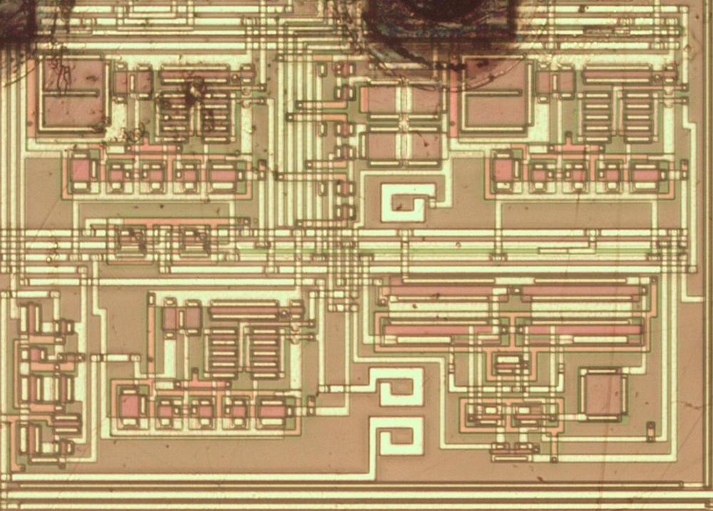 Die photo showing part of the analog circuitry.