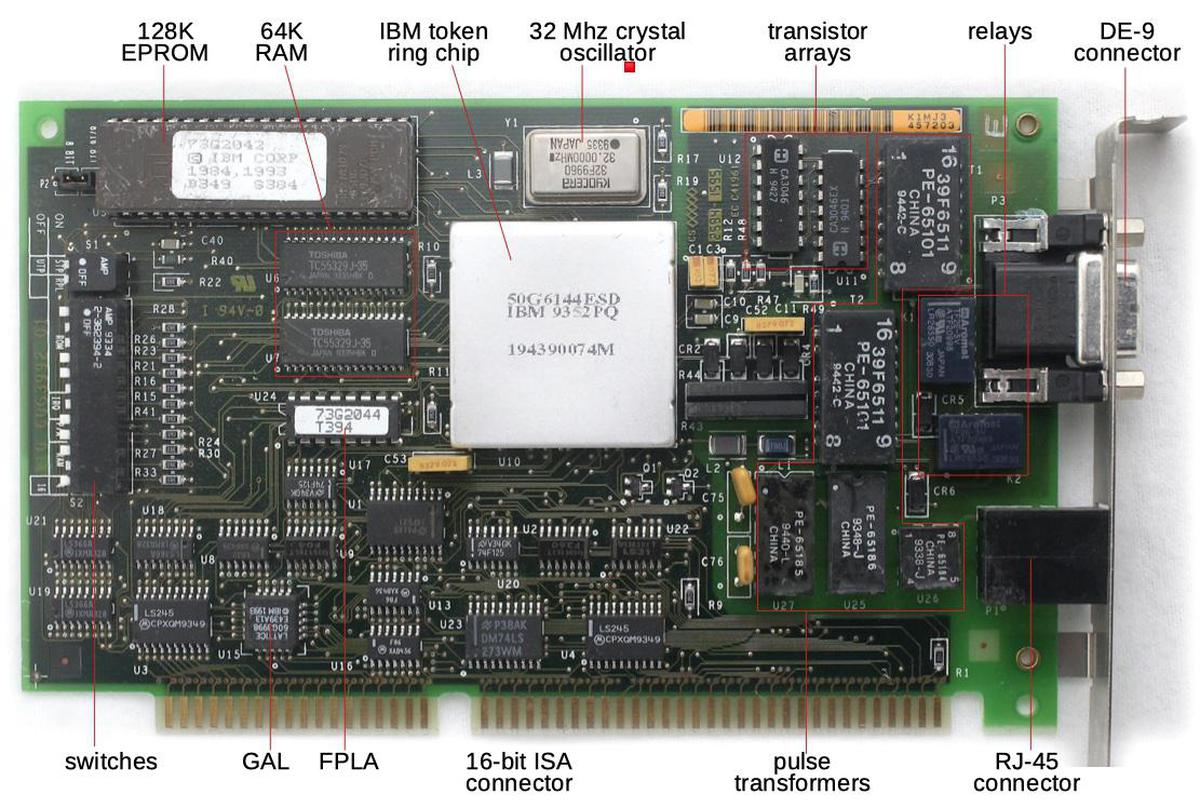 The token ring board plugs into a PC's ISA slot.