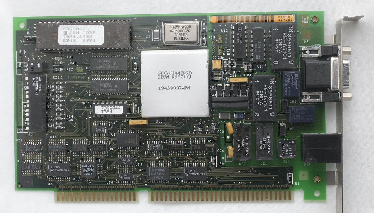 The IBM 4/16 ISA token ring board. Click this photo (or any other) for a larger version.