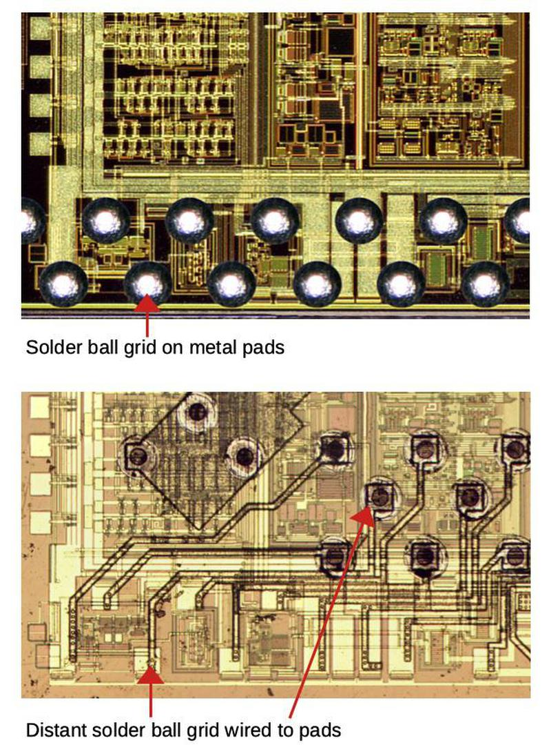 Comparison of the analog section of the old chip and the new chip. The color of the chips is different due to lighting.