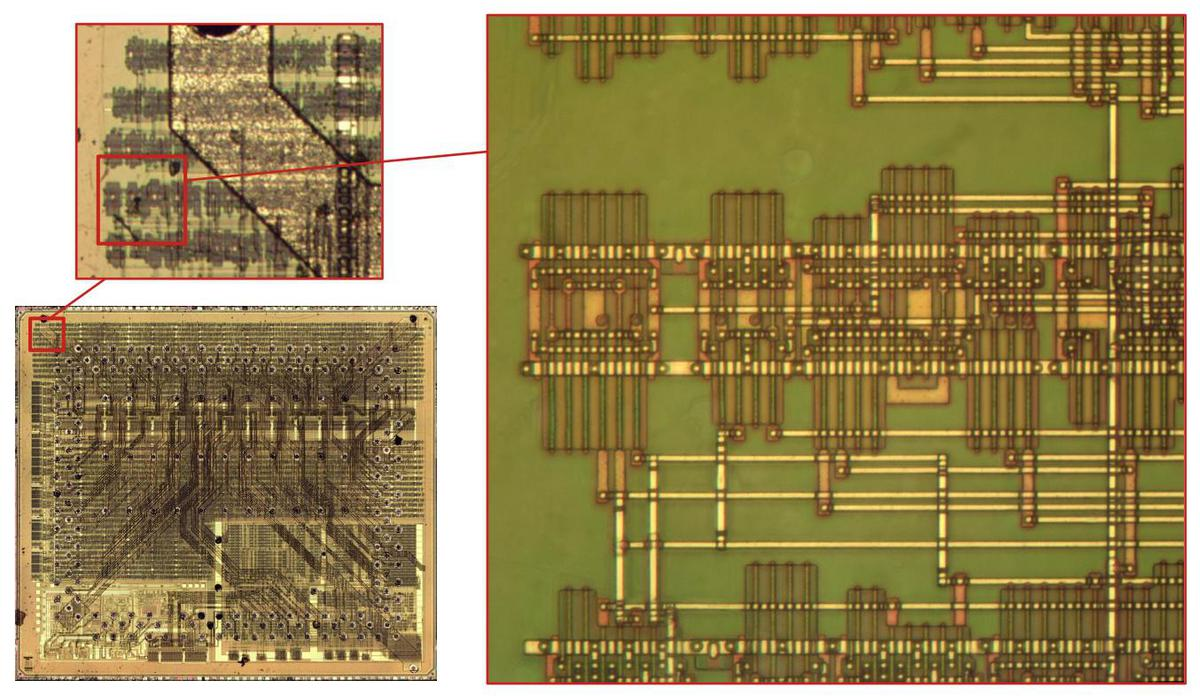 Zooming in on the die shows rows of standard cell logic. Another zoom shows the details of the logic.