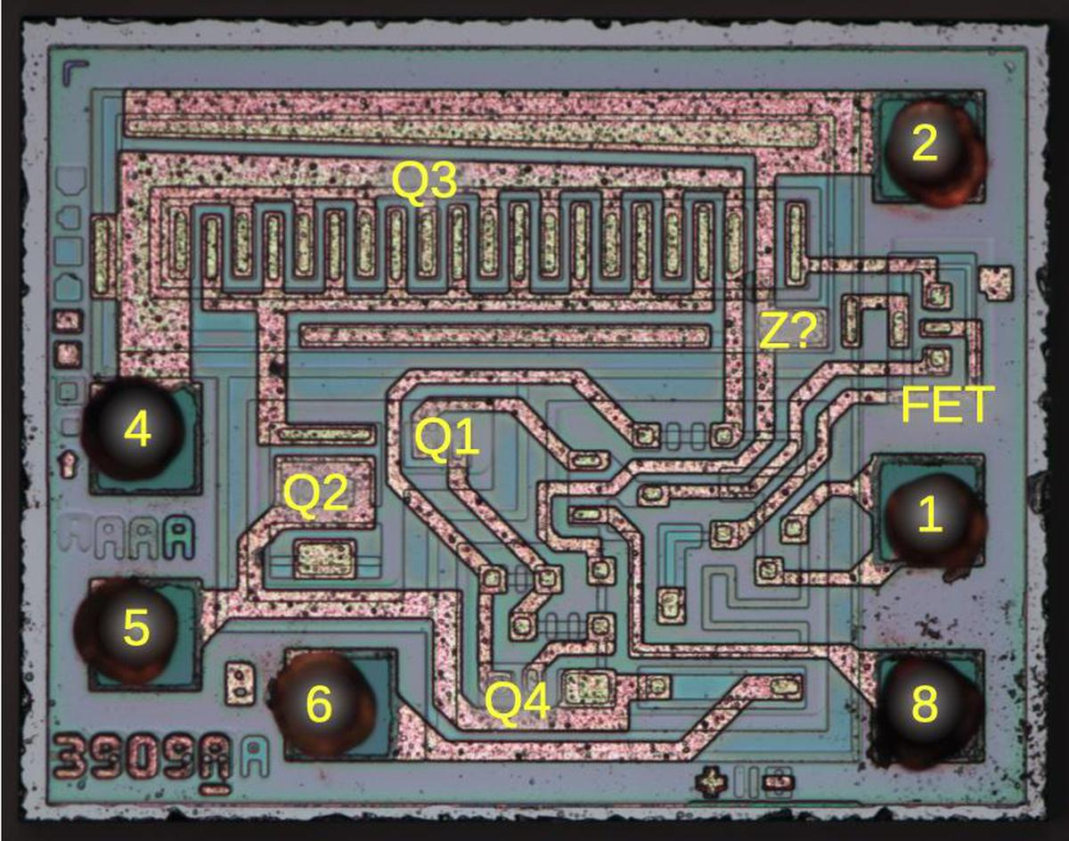 The LM3909 die with pins and key components labeled. Pins 3 and 7 are not connected to the die.