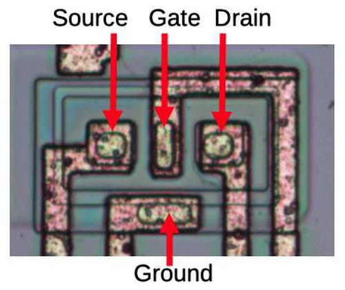 The JFET on the die. It consists of a region of N-silicon between the source and drain, pinched by the P-type gate on top.