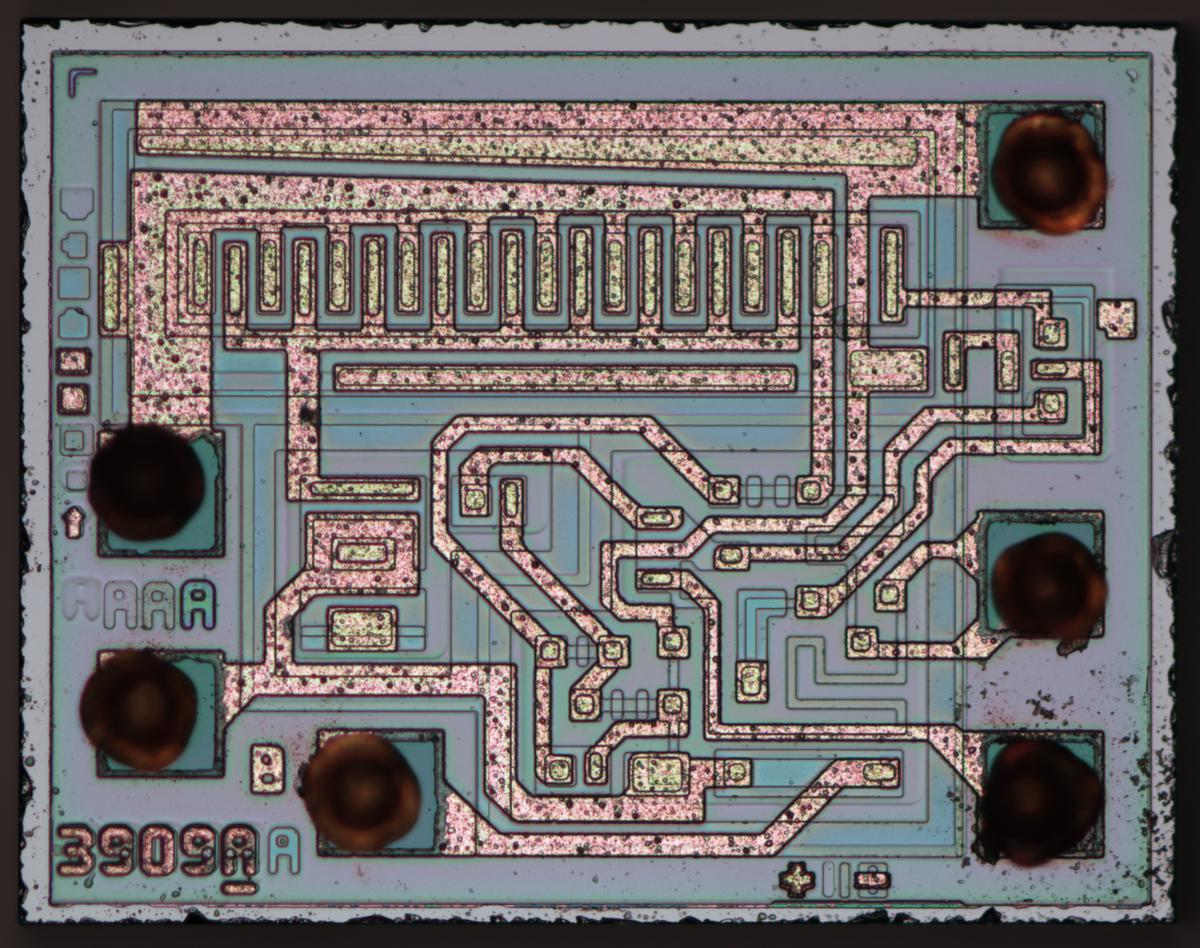 Die photo of the LM3909, courtesy of Zeptobars, CC BY 3.0.
