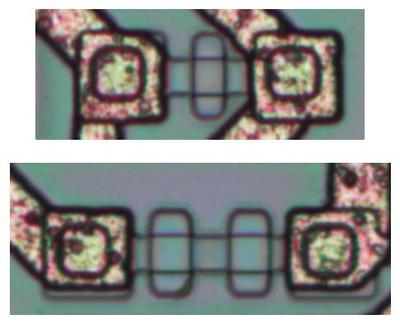 High-resistance pinch resistors.