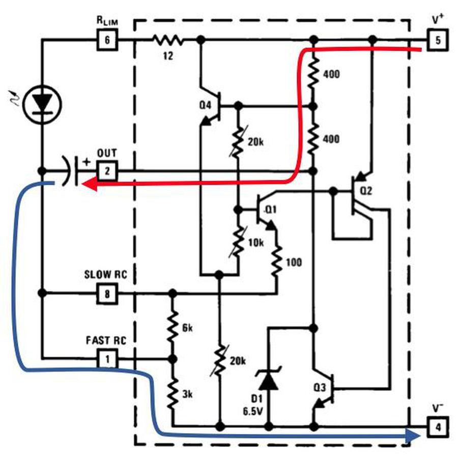The capacitor charging. Schematic from the LM3909 datasheet.