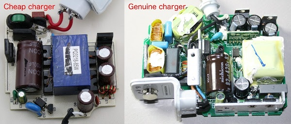 The cheap MacBook charger (left) omits most of the components found in a genuine Apple charger (right). The genuine charger includes more filtering, power factor correction (left), and a powerful microcontroller (board in upper right).