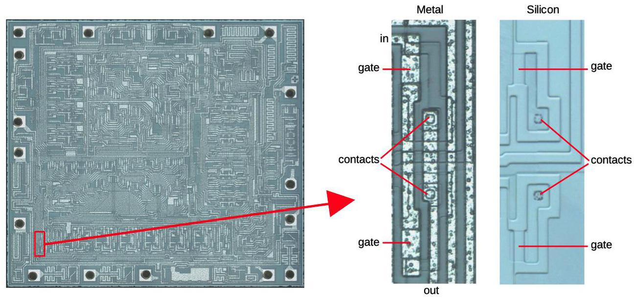 How an inverter appears on the die. The middle image shows the metal layer. The metal was removed for the last image to show the underlying silicon.