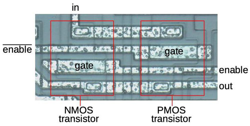 A transmission gate as it appears on the die.