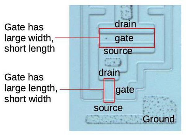 The top transistor is a strong transistor, while the bottom transistor is a weak transistor. This photo shows the silicon after dissolving the metal layer.