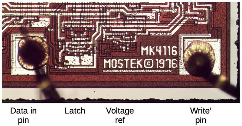 The data-in circuitry: the pin, latch circuit, and voltage reference. This circuitry is in the lower-left corner of the die.