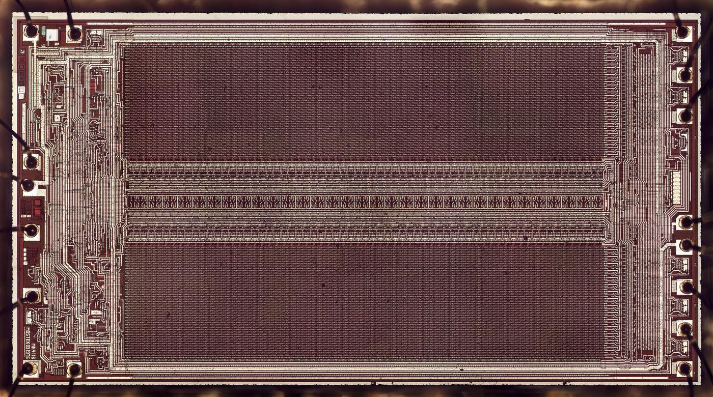 Die photo of the 4116 memory chip. Click for a larger image.
