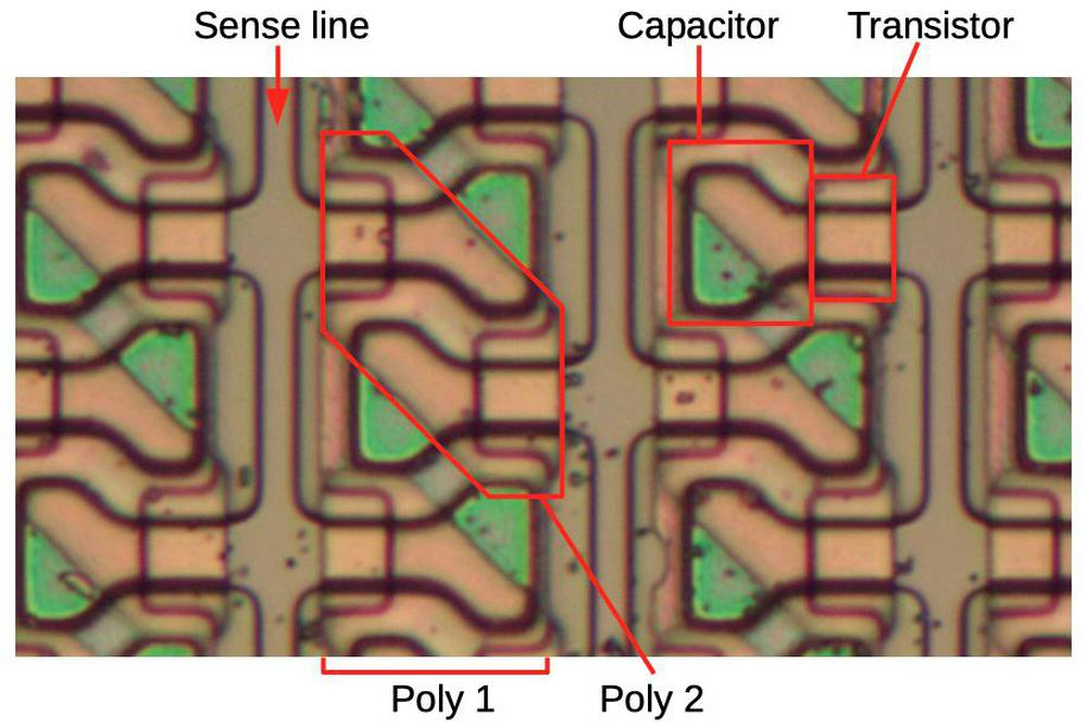 A closeup of the memory chip under the microscope, showing individual storage cells.