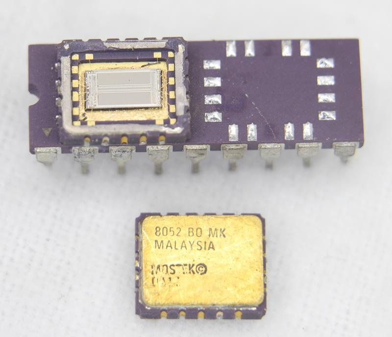 The MK4332 with the left package opened and the right package unsoldered.