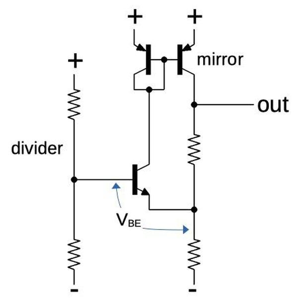 The current sink circuit used in the chip. The divider is shared by all the current sinks on the chip.