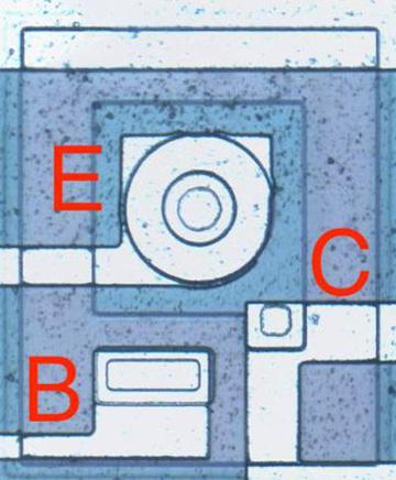 A PNP transistor has a circular structure.