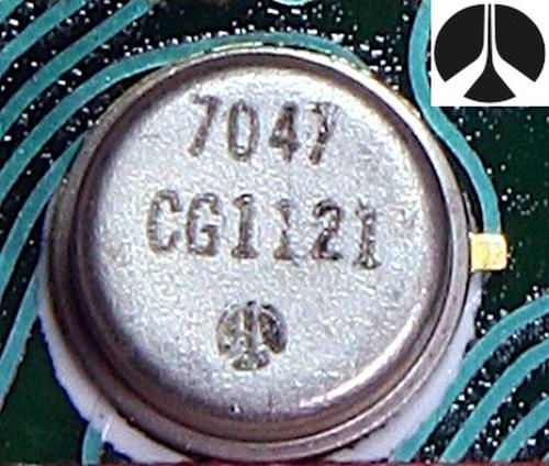 The clock integrated circuit was packaged in a 10-pin metal can. The logo on the integrated circuits isn't clear, but it is the Rockwell logo as shown in the inset.