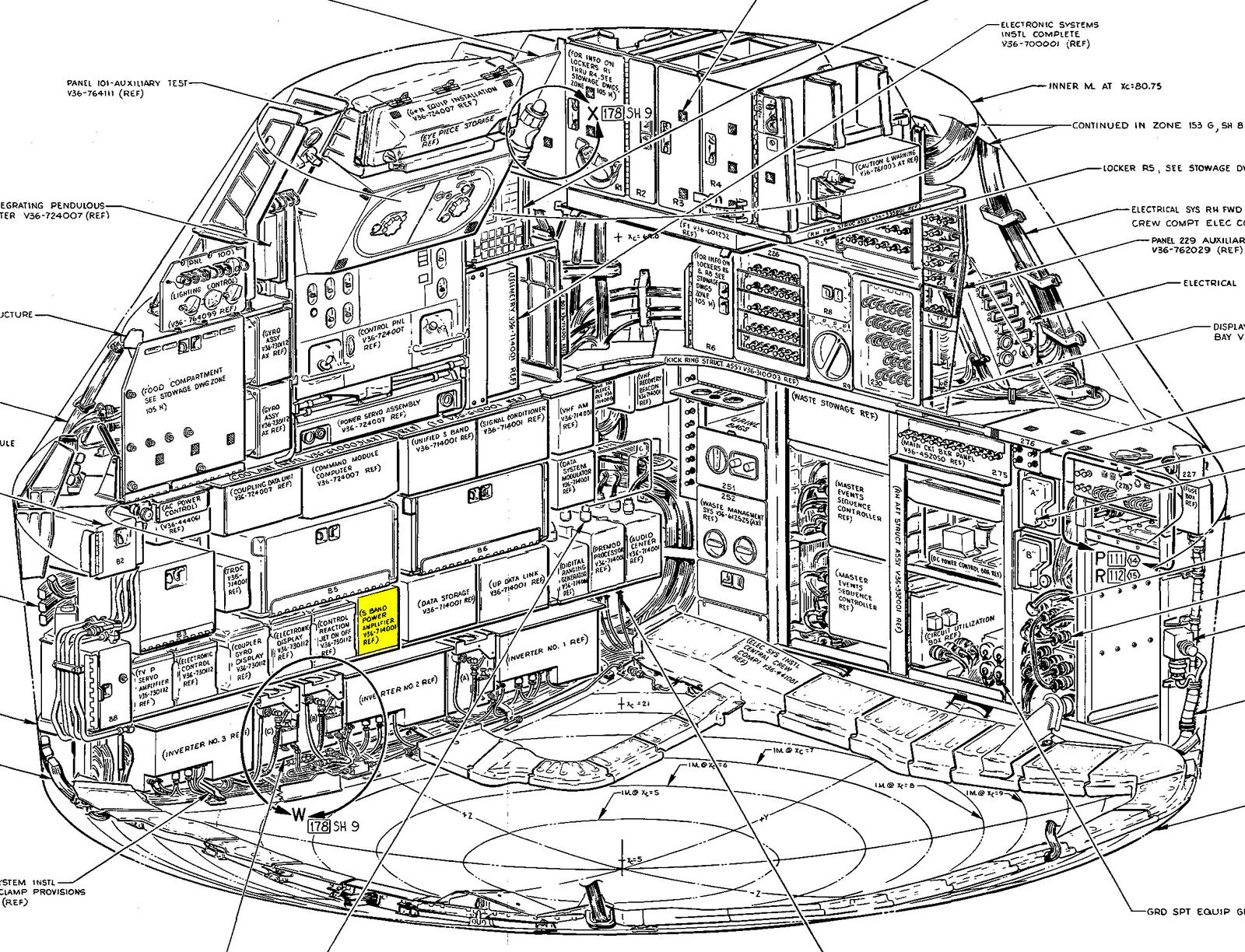 Diagram of the Apollo Command Module's equipment bay with the S-band power amplifier highlighted. From Command/Service Module Systems Handbook p212.
