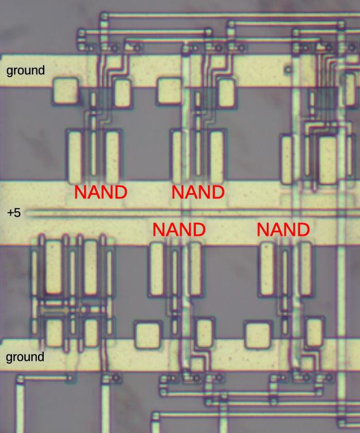 Part of the circuit, with four NAND gates labeled.
